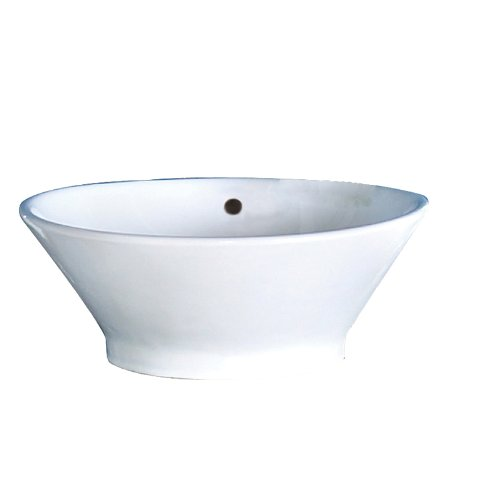 DECOLAV 1435-CWH Celena Classically Redefined Round Vitreous China Above-Counter Vessel Sink with Overflow, White
