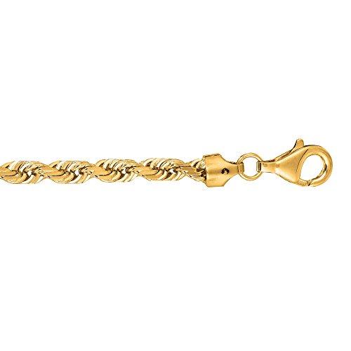 Or jaune 10K 20,3cm 5.0mm solide brillant Diamant Royal Corde Bracelet chaîne