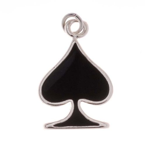 Delight Beads Silver Plated with Enamel Black Spades Playing Card Suit Charm (1) ()