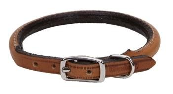 """Pet 0.4"""" W Leather Round Collar Size: 0.4"""" W x 14"""" D, Color: Tan"""