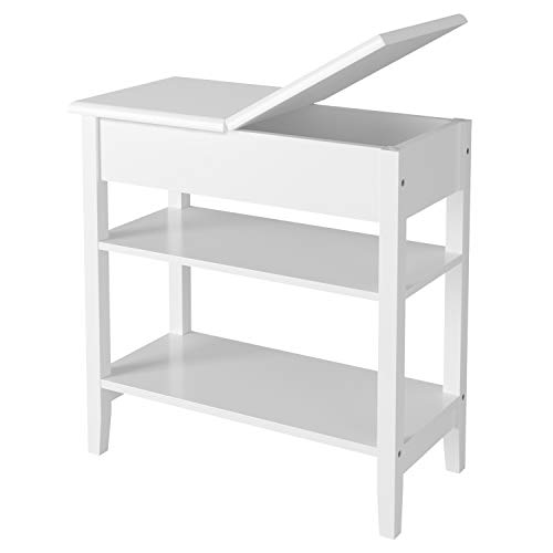 HOMECHO Modern End Side Table with Flip Top Storage Shelf Wooden Sofa Chair Bedside Couch Console  Accent Tables Night Stand for Living Room Bedroom, White, HMC-MD-020 (Slim Side Table)