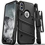 Zizo 1BOLT-IPHXSMAX-BKBK Bolt Cover Kickstand and Holster Case with Glass Screen Protector for iPhone XS Max - Black