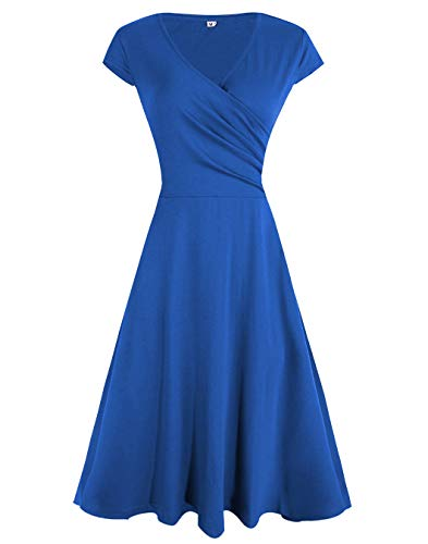 Jersey Short Sleeve Wrap Dress - Akivide Women's Casual V Neck Dress Short Sleeve Wrap Jersey Dress Blue XXL