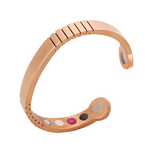 Magnetic Therapy Bracelet Stainless Steel Cuff Bangle Stretch for Arthritis, Tendonitis, Tennis/Golf Elbow, Carpal Tunnel Syndrome and Physical Pain Relief Rose - Magnetic Stretch Bracelet