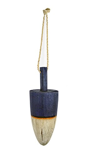Nautical Tropical Imports 14.5'' l Solid Wood Blue and White Round Hanging Buoy by Nautical Tropical Imports