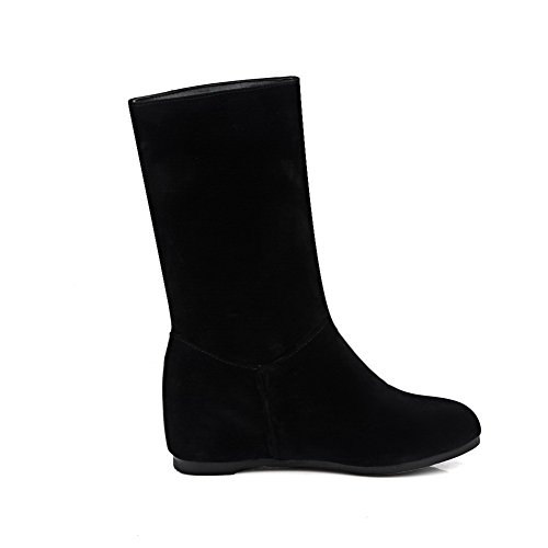 Toe Black Heels Pull Low Solid Womens Round On AmoonyFashion Imitated Boots Closed Suede 7qY41w7p