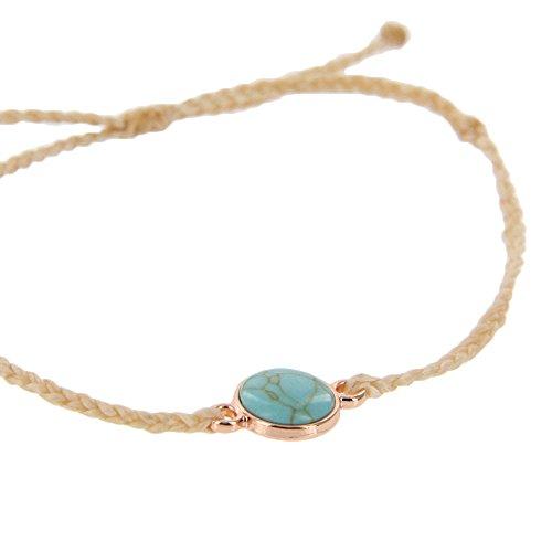 Pura Vida Rose Gold Riviera Stone Bezel Braided Cream Bracelet - Plated Charm, Adjustable Band - 100% Waterproof