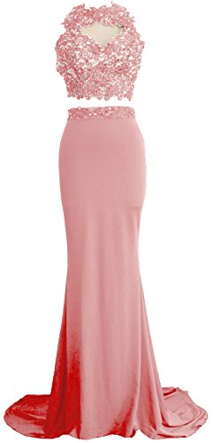 Blush Piece Dress Prom Mermaid Long Pink Evening 2 Formal Lace Macloth Women Gown Jersey 8nOk0wPX