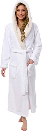 (Silver Lilly Full Length Sherpa Trimmed Hooded Robe - Women's Luxury Plush Long Bathrobe (White, Small/Medium))