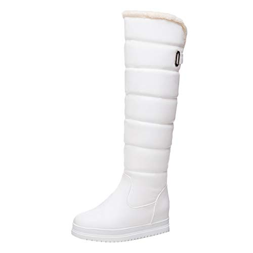Women Winter Snow Boot { Water Resistant } Flat Shoes Warm Faux Fur Lined Mid Wide Calf Knee High ()