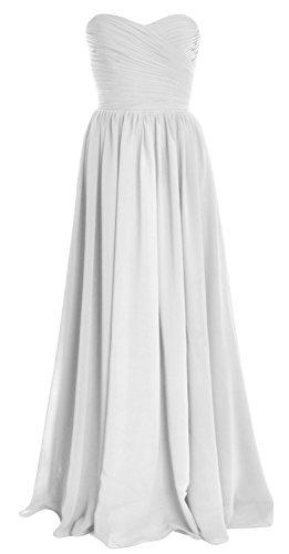 MACloth Women Strapless Chiffon Long Bridesmaid Dress Wedding Party Evening Gown Blanco