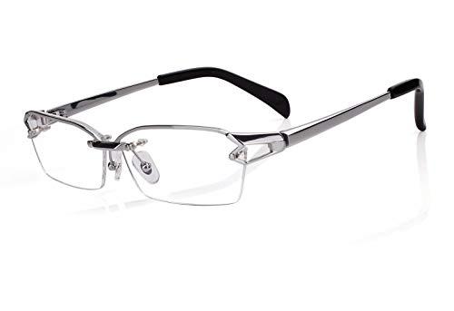 (Agstum Pure Titanium Half Rimless Glasses Frame Optical Eyeglasses Clear Lens (Silver, 58))