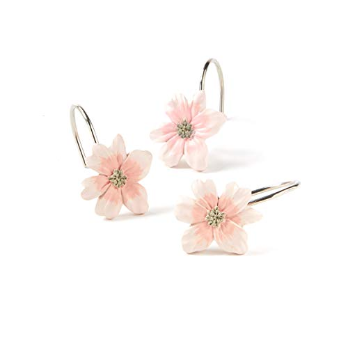 SKL Home by Saturday Knight Ltd. Misty Floral Shower Curtain Hooks, Pink, Set of 12