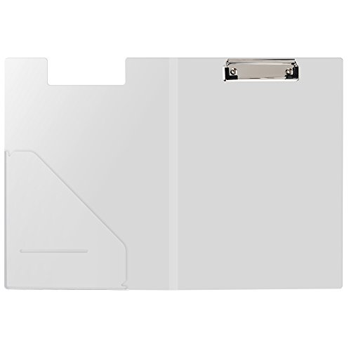 AWEBUY Clipboard Folder File Padfolio with Refillable Notepads Portfolio for Conference Document Business Letter Size Writing Pad Organizer Office Stationary (Clear) (Padfolios Plastic)