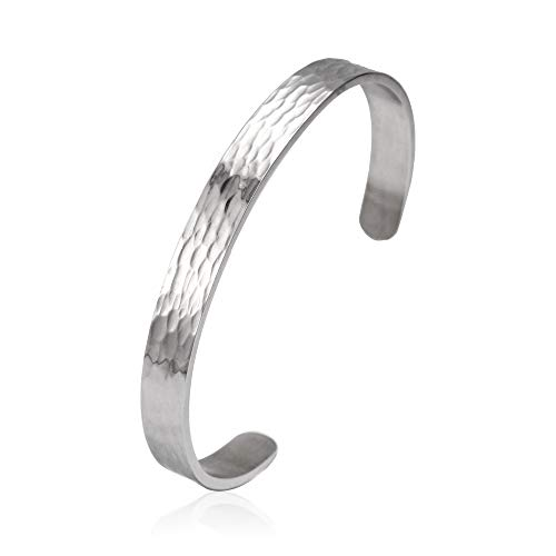 Anlive 8mm Hammered Cuff Bracelet Textured Stacking Braelet Thin Unisex Bangle (Silver)