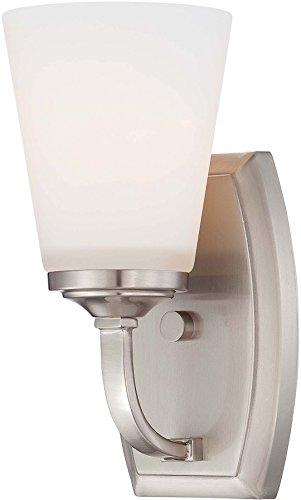 Minka Lavery 6961-84 Overland Park Glass Wall Sconce Lighting Wall Lamp Fixture, 1-Light, 100 Watt, Brushed Nickel