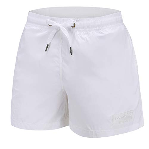 STORTO Mens Swim Trunks Solid Board Shorts Gym Bodybuilding Workout Sports Casual Boxer Shorts White