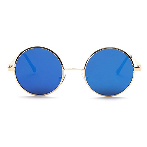 My.Monkey 2016 New Fashion Retro Metal Frame Reflective Lens Round - Sunglasses My Quay Girl