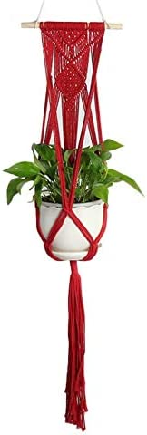 Hacoly Makramee Blumenampel Mit Holzstab Hängeampe Blumentopf Baumwollseil Hängeampel Blumentopf Pflanzen Halter für Innen Außen Balkone Dekoration - Rot