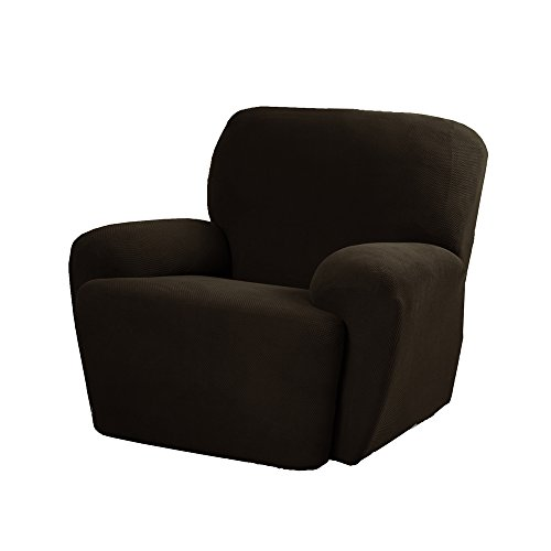 Maytex Pixel Stretch 4-Piece Slipcover Recliner, Chocolate
