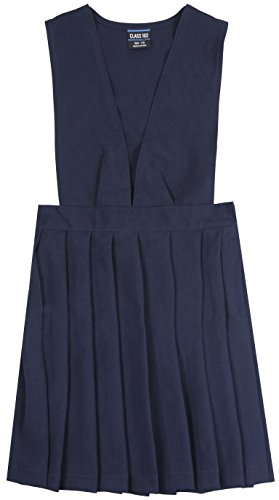 ToBeInStyle Girl's Uniform Jumper Dress V-Neck Pleated Romper - Navy - 14