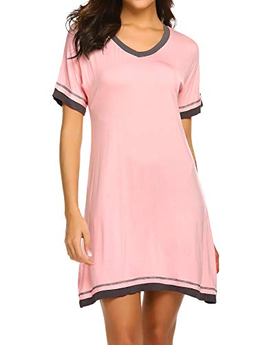 - Ekouaer Sleep Tee Women's Nightwear Sexy V Neck Nightshirts Short Sleeve Lounger Dress (Pink,S)