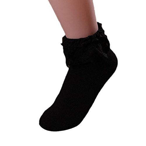 Lowpricenice Women Vintage Lace Ruffle Frilly Ankle Socks (Black) from Lowpricenice