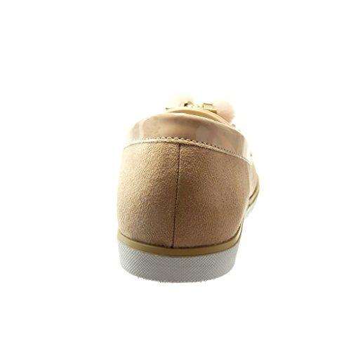 Talón on Patentes Plataforma Zapatillas Moda Cm 1 Fleco Angkorly Mocasines 5 Slip Rosa Mujer Pompom ICzqS8Rwx