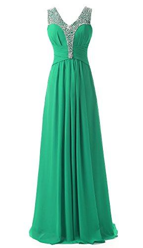 Brautjungfer Grün Kleider Abend Kmformals Beaded Smaragd Damen Prom 7PwIPz0Bq