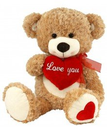 Brown Teddy Bear with Heart Stuffed Animal, 18 inches Cute Valentine's Day Gift for Girlfriend, Boyfriend or Best - At Outlets Woodstock