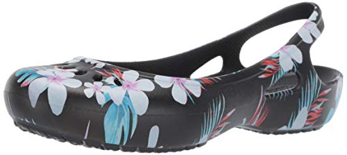 Crocs Women's Kadee Seasonal Slingback Flat Ballet, Tropical Floral/Black, 8 M US ()