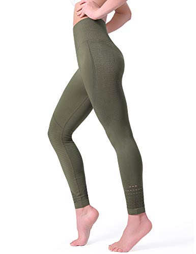 POSHDIVAH Yoga Pants for Women High Waisted Tummy Control Non See Through Workout Leggings Army Green Large ()