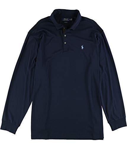 Ralph Lauren Mens Classic LS Rugby Polo Shirt, Blue, Medium