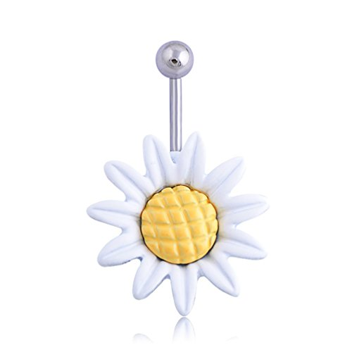- Mrsrui Yellow Sunflower Belly Button Ring Navel Barbell Piercing Body Jewelry Stainless Steel (White)