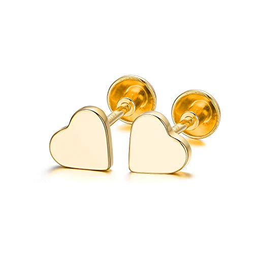 (18K Yellow Gold Heart Stud Earring Real Gold Love Stud Earrings Solid Gold Heart Earring for Girls Women Children Kids (Gold))