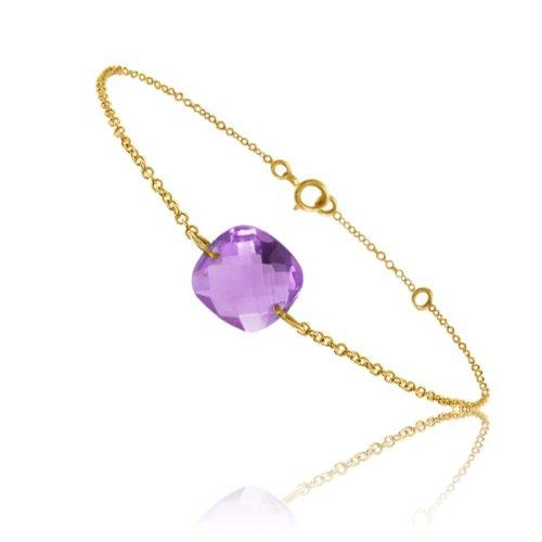 Tousmesbijoux Bracelet chaine Or jaune 750/00 et améthyste taille coussin