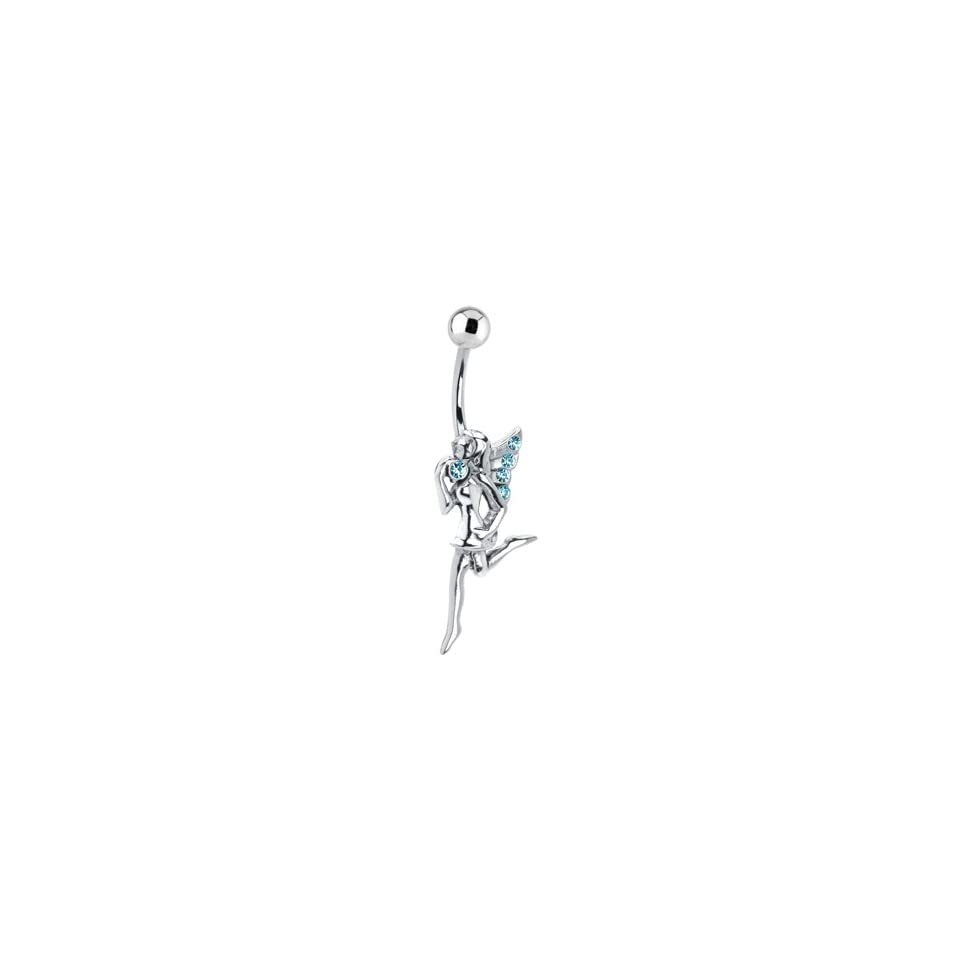 Aqua Gem Sterling Silver Dancing Fairy Belly Ring Jewelry