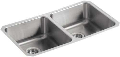 KOHLER K-3350-NA Undertone Double Equal Undercounter Kitchen Sink, Stainless Steel