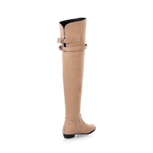 Charm Foot Fashion Mujeres Low Heel Botas Sobre La Rodilla Botas Largas Beige