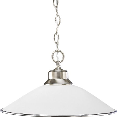 Progress Lighting P5013-09 1-Light Chain-Hung Pendant with Satin Opal Glass and Accent Ring, Brushed ()