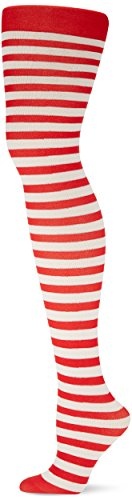 Price comparison product image Fun-Filled Christmas and Holiday Party Candy Stripe Tights - Women , Red-White, Fabric , Pack of 1