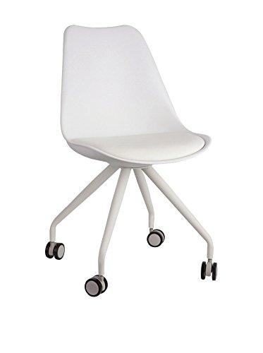lo+demoda Cross Four Legs PU Silla, Metal, Blanco, 53x46x82 cm, 2 Unid