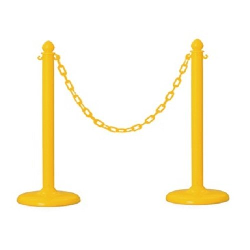 Plastic Stanchion in Yellow 2 Pcs + 16' Chain, w/C-hook -