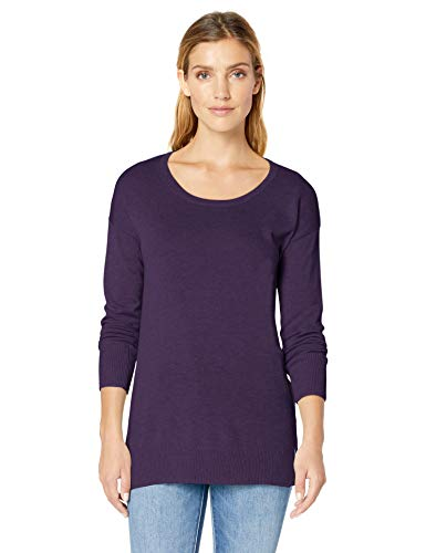 - Amazon Essentials Women's Lightweight Scoopneck Tunic Sweater, Purple Heather, X-Large