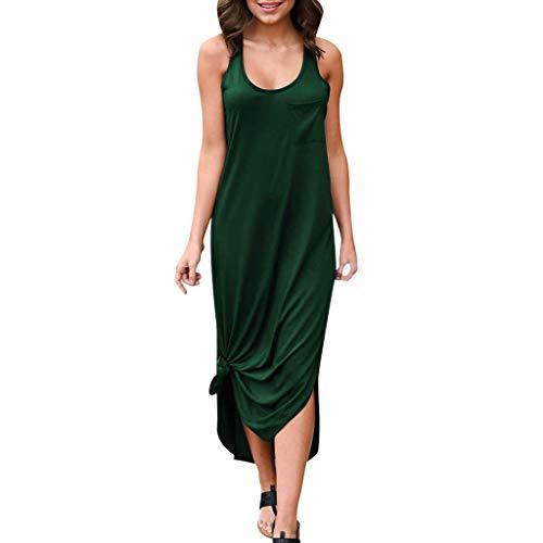 Goddessvan 2019 Women Backless Sleeveless Crew Neck Long Dress Evening Party Dress with Pockets Side Slit Irregularly Green ()