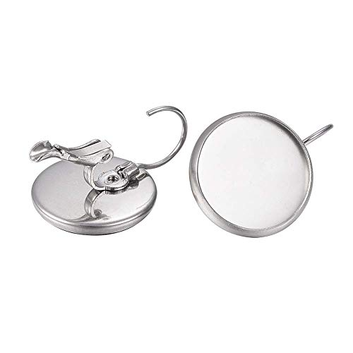 UNICRAFTALE 100pcs 304 Stainless Steel Leverback Earring Hooks Finding with 12mm Flat Round Blank Earring Cabochons Bezel Tray Earring Components for Dangle Jewelry Making 21X14mm Pin 0.8mm Tray 12mm