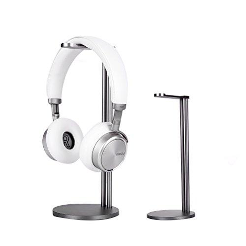 (EletecPro Headphone Stand Holder,Universal Aluminum Alloy Gaming Headset earphone Holder Table Desk Display Rack Hanger Orgnizer Support For All Headphone Sizes (Grey) )
