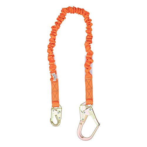 4.5-6 Foot Single Leg Stretch Internal Shock Absorbing Lanyard with 1 Rebar Hook and 1 Steel Snap Hook, OSHA/ANSI Compliant