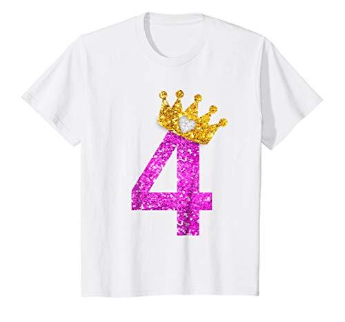 Kids 4th Birthday Girl Shirt Princess Crown Pink 4 White
