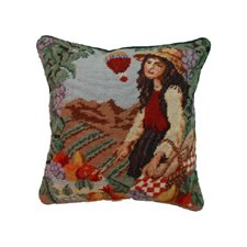 14X14 Inches Needle Point Pillow, FRENCH HARVEST GIRL #1 by C&F